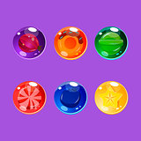 Bright Colorful Glossy Candies with Sparkles. Vector Illustration Set