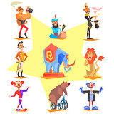 Circus collection with carnival, fun fair, vector icons