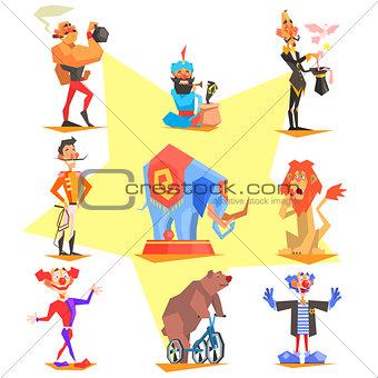 Circus collection with carnival, fun fair, vector icons