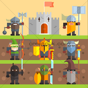 Castle and Knights. Medieval Game Vector Set