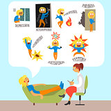 Psychotherapist with Lying Patient Discussing Phobia. Vector Illustration