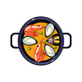 Seafood Soup in a Bowl Served Food. Vector Illustration