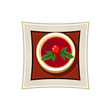 Borscht with a Cherry Tomato and Basil Leaves Served Food. Vector Illustration