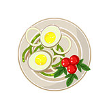 Breakfast with Cherry Tomatoes and Boiled Eggs Served Food. Vector Illustration