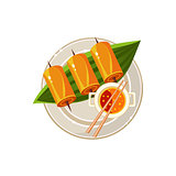 Fish Rolls and Soup on a Plam Served Food. Vector Illustration