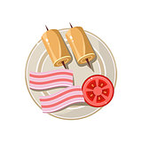 Breakfast Serving with Tomato and Bacon Vector Illustration