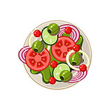 Salad of Sliced Vegetables Served Food. Vector Illustration