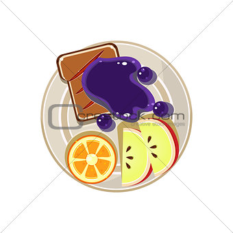 Sliced Fruit and Toast with Jam. Breakfast Served Food. Vector Illustration