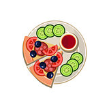 Pizza Slices, Sauce and Sliced Cucumbers Served Food. Vector Illustration