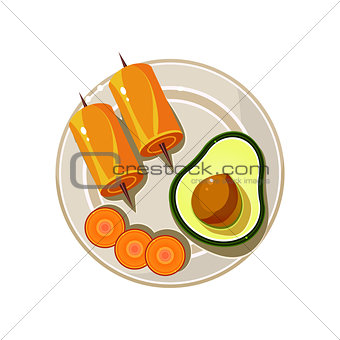 Avocado, Rolls and Carrot Served Food. Vector Illustration