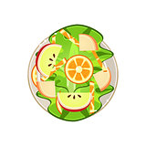 Salad with Oranges and Apple Served Food. Vector Illustration