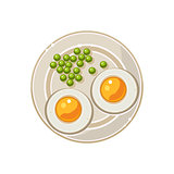 Breakfast with Grilled Eggs and Green Peas Served Food. Vector Illustration