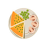 Served Food. Vector Illustration