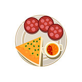 Pizza, Sausage and Soup Served Food. Vector Illustration