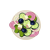 Greek Salad with Vegetables and Cottage Cheese Served Food. Vector Illustration