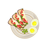 Morning Hot Sandwiches and Eggs Served Food. Vector Illustration
