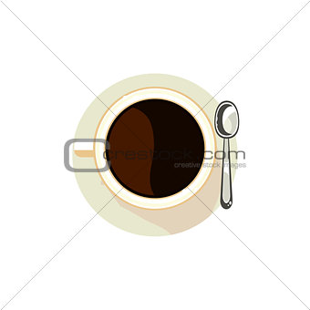 Black Coffee in a Cup. Vector Illustration