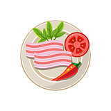 Lard, Pepper and Tomato Served Food. Vector Illustration