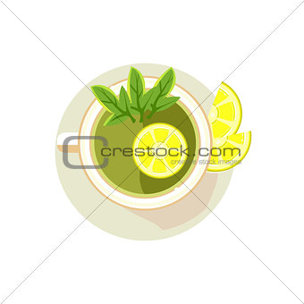 Green Tea with Sliced Lemon. Vector Illustration