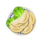 Vareniki with Lettuce Served Food. Vector Illustration