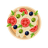 Pizza with Tomatoes and Olives Served Food. Vector Illustration