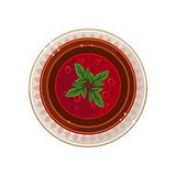 Borscht in a Bowl Served Food. Vector Illustration