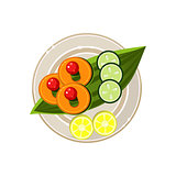 Island Food on a Palm Tree Leaf Served Food. Vector Illustration
