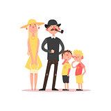 Family with Parents Wearing Hats. Vector Illustration