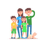 Family with Parents Wearing Jeans. Vector Illustration