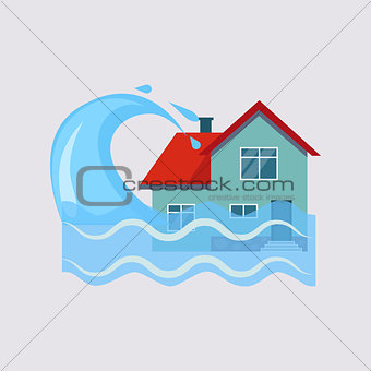 Flood House Insurance Vector Illustartion