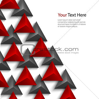 Abstract red and gray pyramids on white background