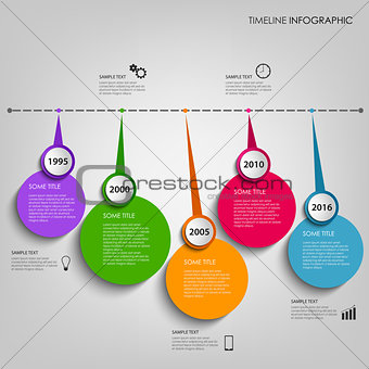 Time line info graphic with colored circular indicators template