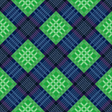 Diagonal seamless pattern in green and blue