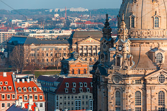 Aerial view of domes and roofs Dresden, Germany