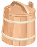Closed wooden tub. Wooden bucket with lid