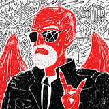 Vector Red Devil Biker in Jacket