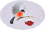 Winter landscape. Bullfinch on the branch of rowan. EPS10 vector illustration