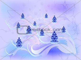 Card with Christmas trees in cool shades. EPS10 vector illustration