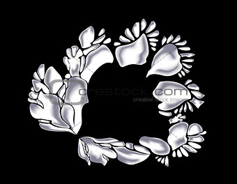 Abstract monochrome white flower. EPS10 vector illustration