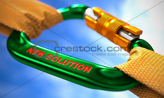 Green Carabine Hook with Text New Solution.
