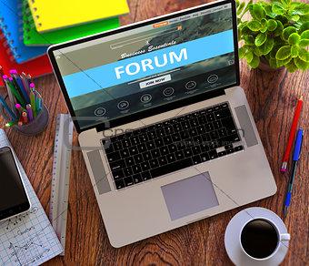 Forum Concept on Modern Laptop Screen.
