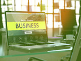 Laptop Screen with Business Concept.