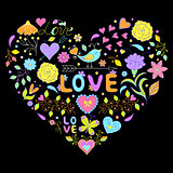 valentines heart  on black background