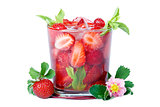 Refreshing glass of strawberry with mint and ice.