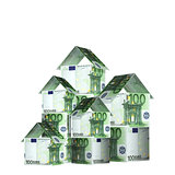 Houses from euro banknotes