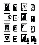 Smartphone, tablet repair - broken screen icons set