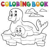 Coloring book happy seal with pup