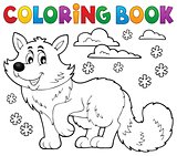 Coloring book polar fox theme 1