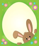 Egg shaped frame with lurking bunny 2