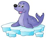 Happy seal on iceberg theme 1